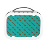 Cute turquoise reindeer pattern lunch box