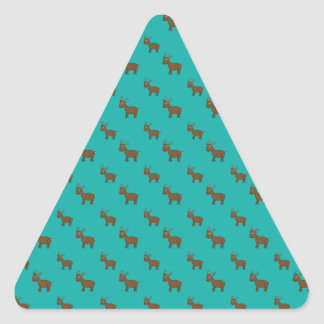 Cute turquoise reindeer pattern triangle sticker