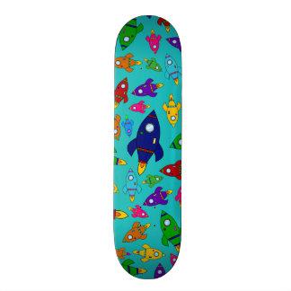 Cute turquoise rocket ships pattern skate board decks