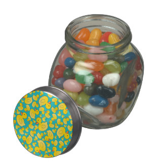 Cute turquoise rubber ducks jelly belly candy jar