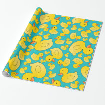 Cute turquoise rubber ducks wrapping paper