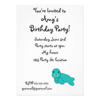 Cute turquoise seal custom invites