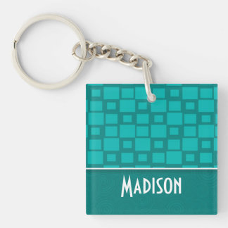 Cute Turquoise Squares Double-Sided Square Acrylic Keychain