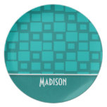 Cute Turquoise Squares Party Plates