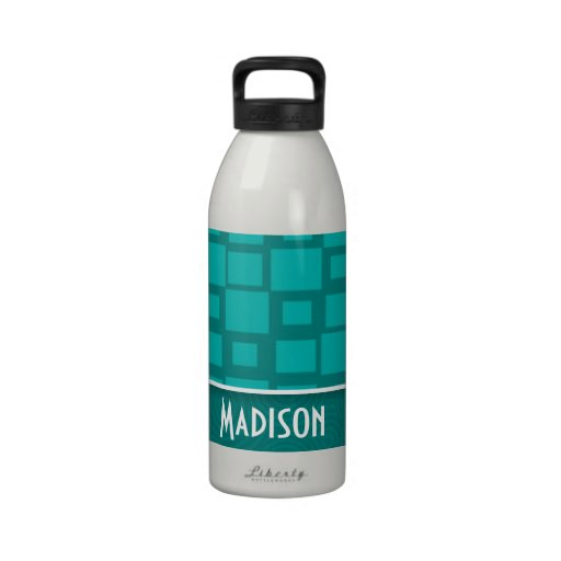 Cute Turquoise Squares Reusable Water Bottles