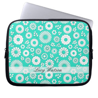 Cute turquoise summer flowers computer sleeves