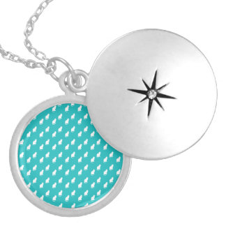 Cute turquoise white cat pattern round locket necklace