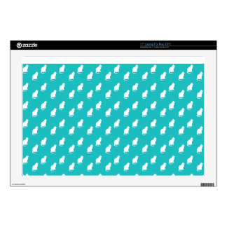 Cute turquoise white cat pattern laptop decal