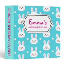 Cute turquoise white easter bunnies simple pattern 3 ring binder