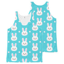 Cute turquoise white easter bunnies simple pattern All-Over-Print tank top