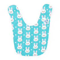 Cute turquoise white easter bunnies simple pattern baby bib