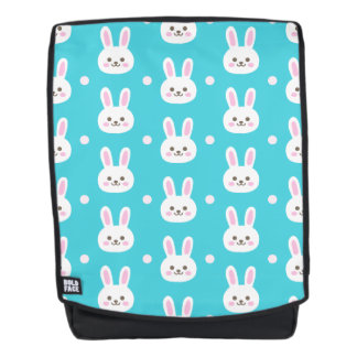 Cute turquoise white easter bunnies simple pattern backpack