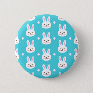 Cute turquoise white easter bunnies simple pattern button