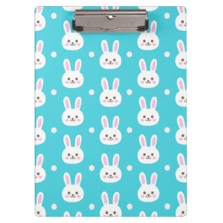 Cute turquoise white easter bunnies simple pattern clipboard