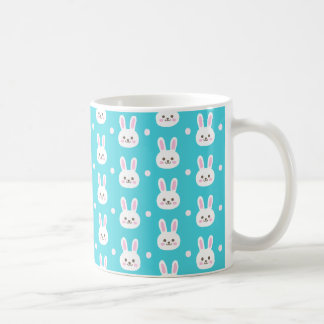 Cute turquoise white easter bunnies simple pattern coffee mug