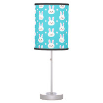 Cute turquoise white easter bunnies simple pattern desk lamp