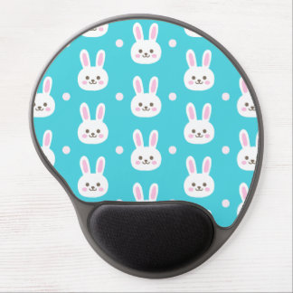 Cute turquoise white easter bunnies simple pattern gel mouse pad