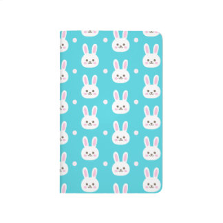 Cute turquoise white easter bunnies simple pattern journal