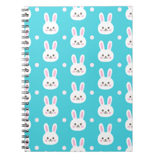 Cute turquoise white easter bunnies simple pattern notebook