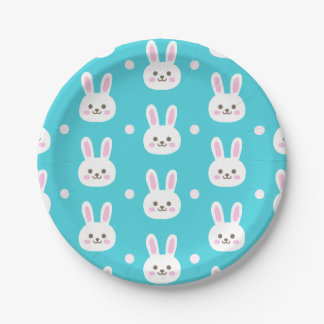 Cute turquoise white easter bunnies simple pattern paper plate