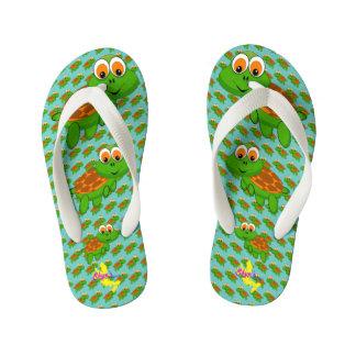 Cute turtle 1 kid's flip flops
