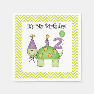 Cute Turtle 2nd Birthday Paper Napkins