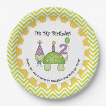 Cute Turtle 2nd Happy Birthday Paper Plates