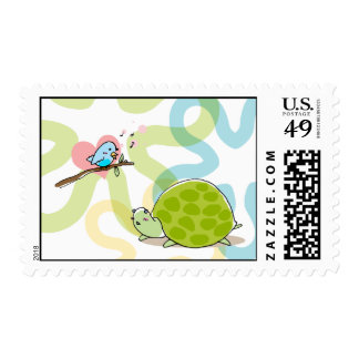 cute turtle and singing bird stamp