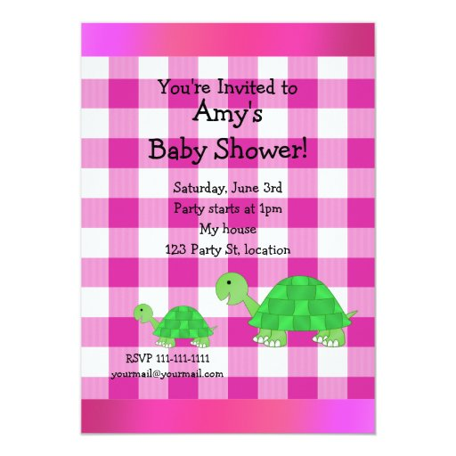 Cute turtle baby shower 5x7 paper invitation card