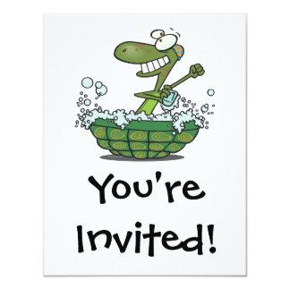 cute turtle bathing in his shell tub scrub a dub 4.25x5.5 paper invitation card