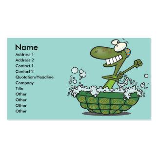 cute turtle bathing in his shell tub scrub a dub business card template