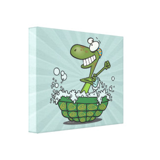 cute turtle bathing in his shell tub scrub a dub canvas print