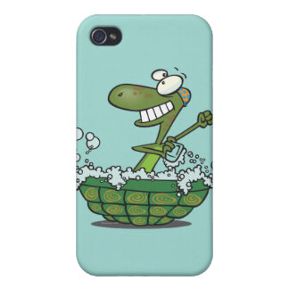 cute turtle bathing in his shell tub scrub a dub iPhone 4 covers