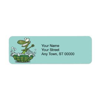 cute turtle bathing in his shell tub scrub a dub return address label