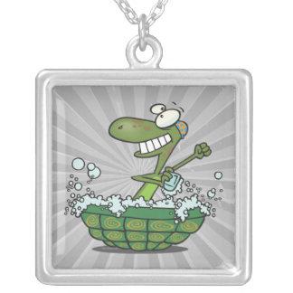 cute turtle bathing in his shell tub scrub a dub square pendant necklace