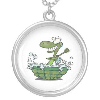 cute turtle bathing in his shell tub scrub a dub round pendant necklace