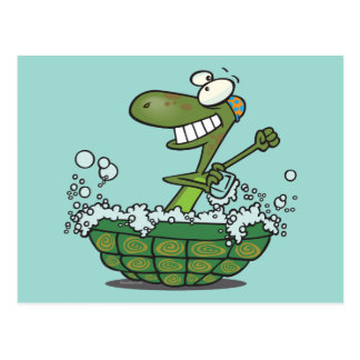 cute turtle bathing in his shell tub scrub a dub postcard
