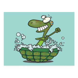 cute turtle bathing in his shell tub scrub a dub postcard