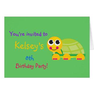 Cute Turtle Birthday Invitation Stationery Note Card