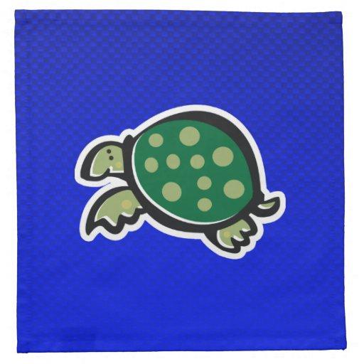 Cute Turtle; Blue Cloth Napkin