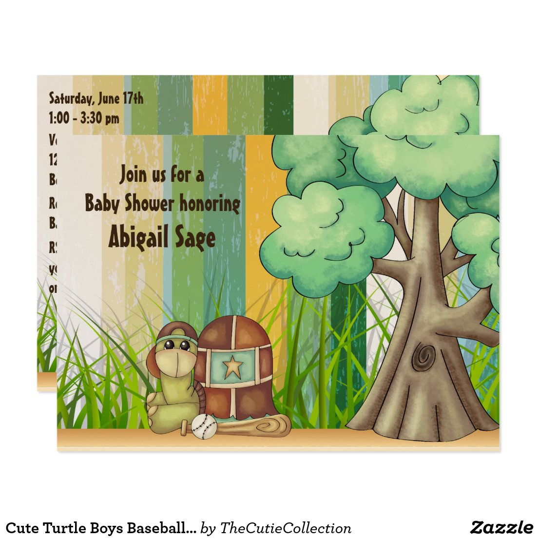 Cute Turtle Boys Baseball Baby Shower Invitation