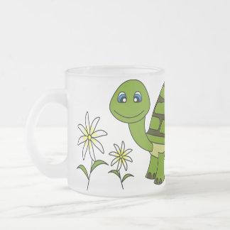 Cute Turtle Cartoon Frosted Glass Coffee Mug