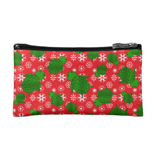 Cute turtle christmas red white snowflakes cosmetics bags