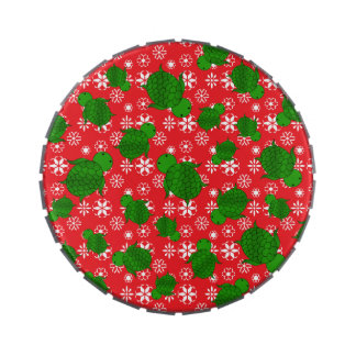 Cute turtle christmas red white snowflakes jelly belly candy tin