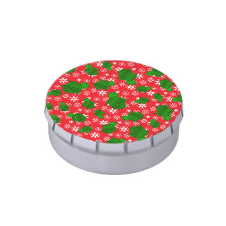 Cute turtle christmas red white snowflakes jelly belly tin