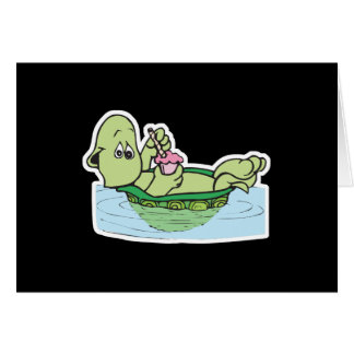 cute turtle drinking milkshake greeting card