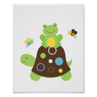 Cute Turtle Frog Nursery Wall Art Print Poster