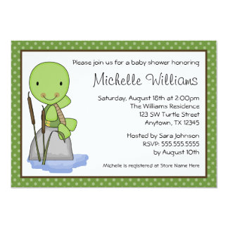 Cute Turtle Green Polka Dot Baby Shower Card
