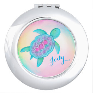 Cute turtle hearts shell art name mirror compact