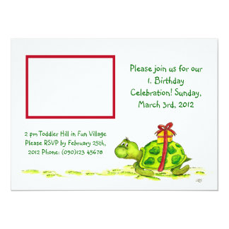 Cute Turtle Invite for a Childs Birthday